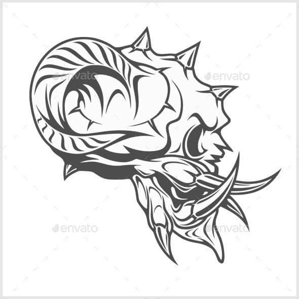 Demon Skull on White - Tattoos Vectors