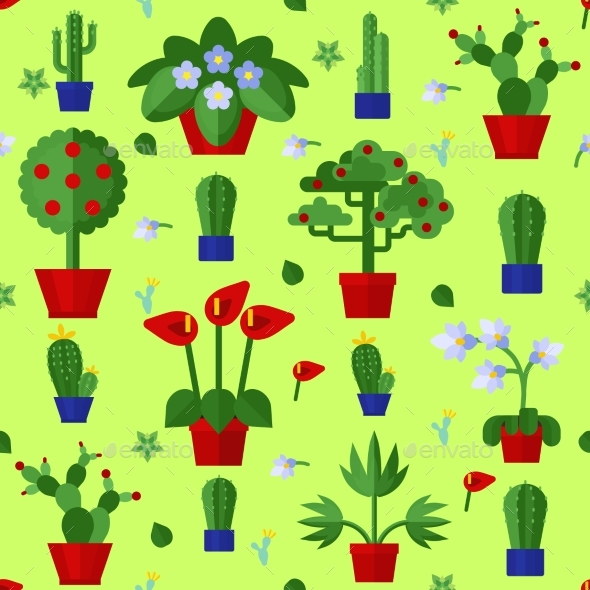 Floral Flat Plants Icons Seamless Pattern  - Decorative Vectors