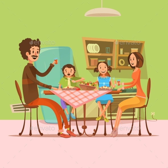 Family Having Meal Illustration  - People Characters