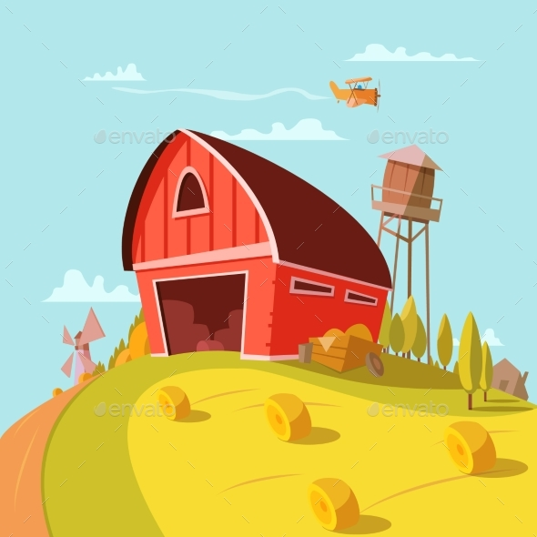 Farm Building Cartoon Background  - Nature Conceptual