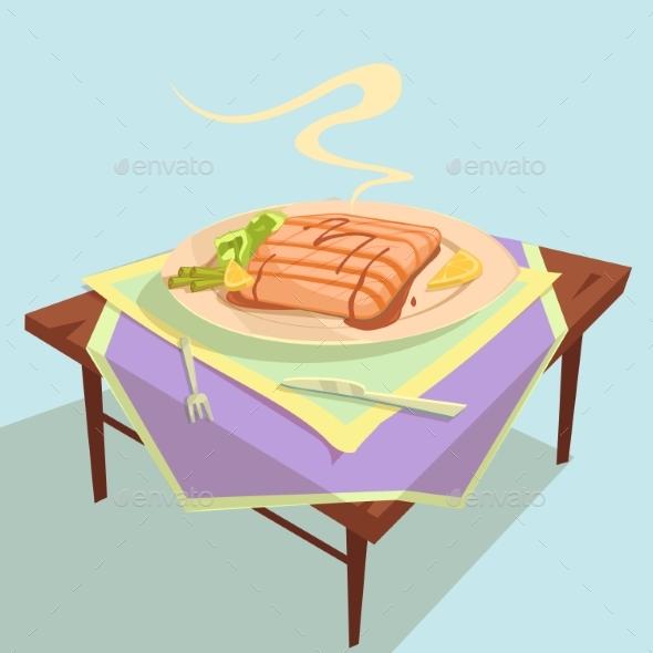 Fish Dish Cartoon Illustration - Food Objects