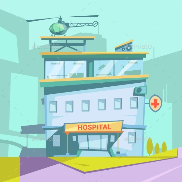 Hospital Cartoon Background - Buildings Objects