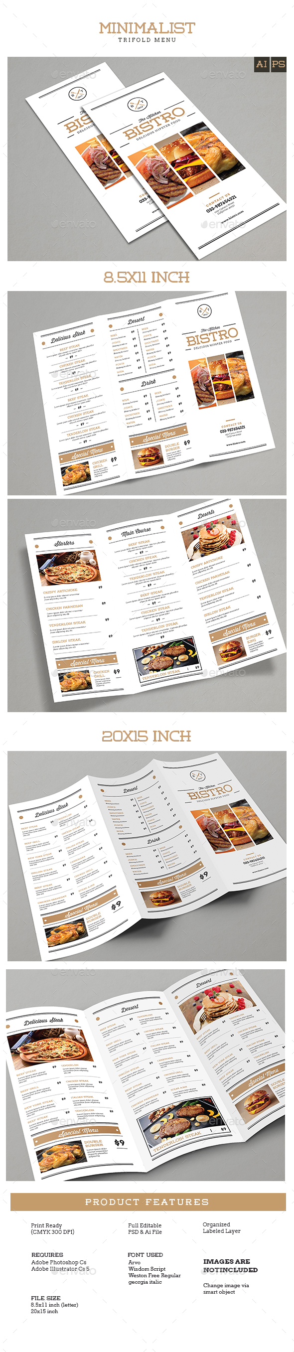 Trifold Brochure Minimalis Menu - Food Menus Print Templates