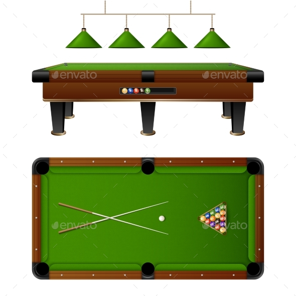 Pool Billiard Table And Furniture Set - Sports/Activity Conceptual