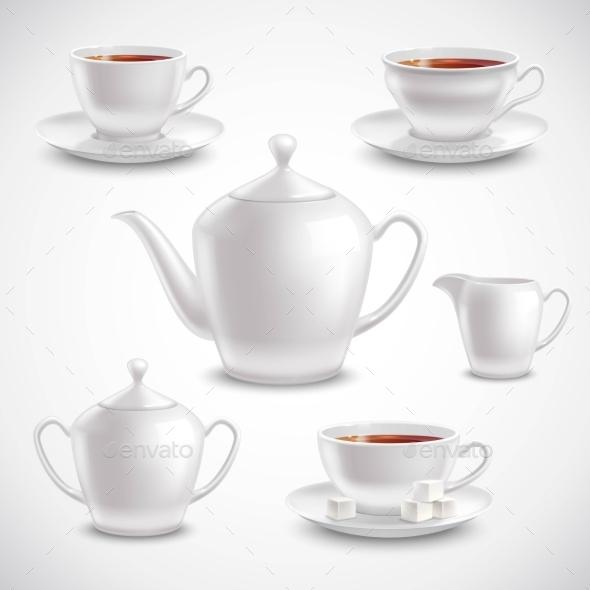 Realistic Tea Set - Food Objects