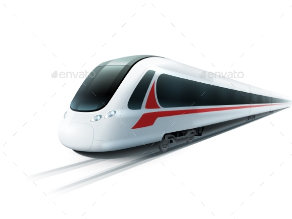 High-Speed Train Realistic Isolated Image  - Travel Conceptual
