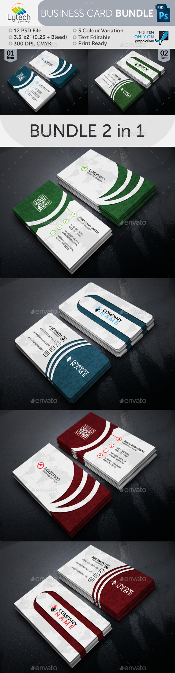 Creative Business Card Bundle (2 in 1) - Business Cards Print Templates