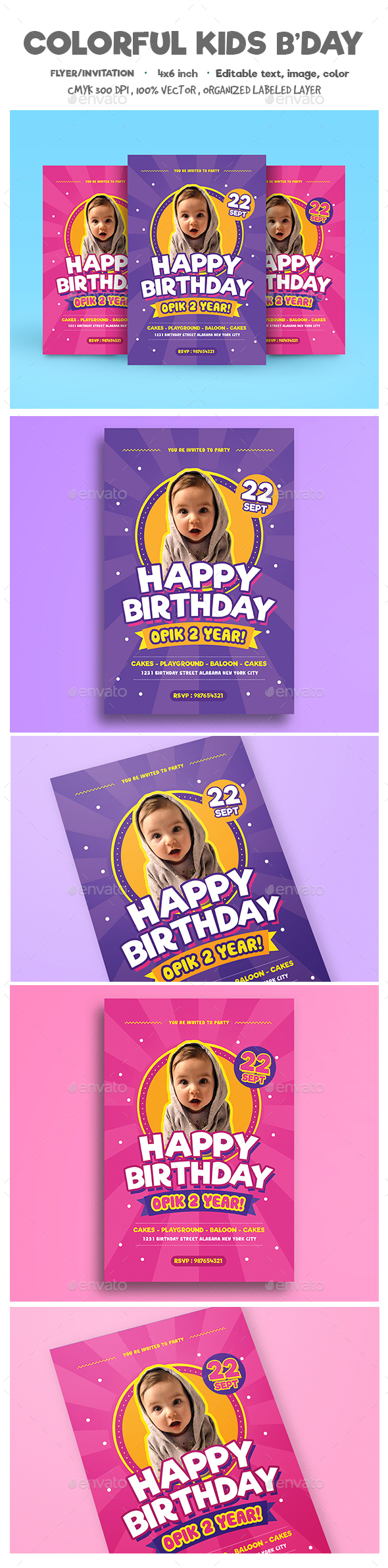 Colorful Kids Birthday Flyer/Invitation - Birthday Greeting Cards