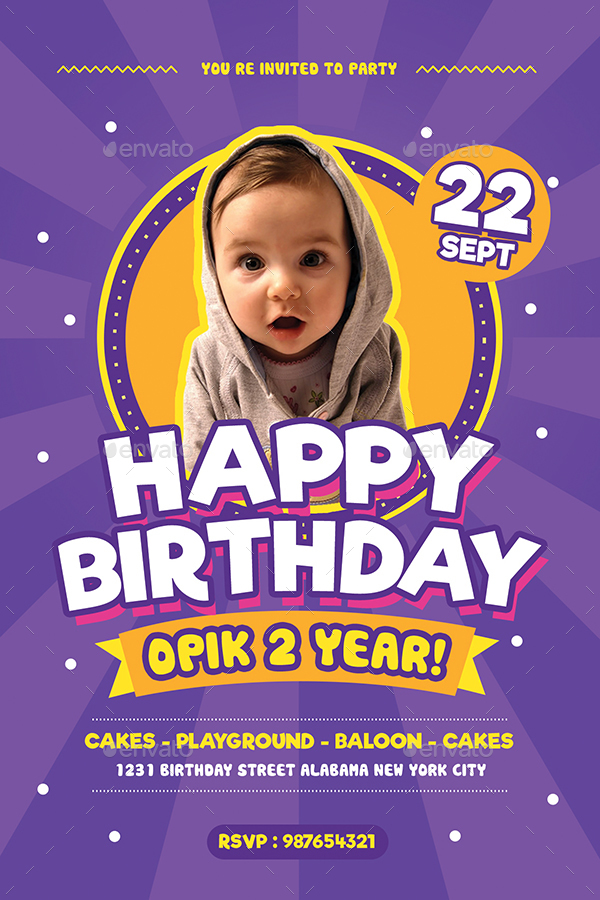 Colorful Kids Birthday FlyerInvitation by Guuver – Birthday Flyers Invitations