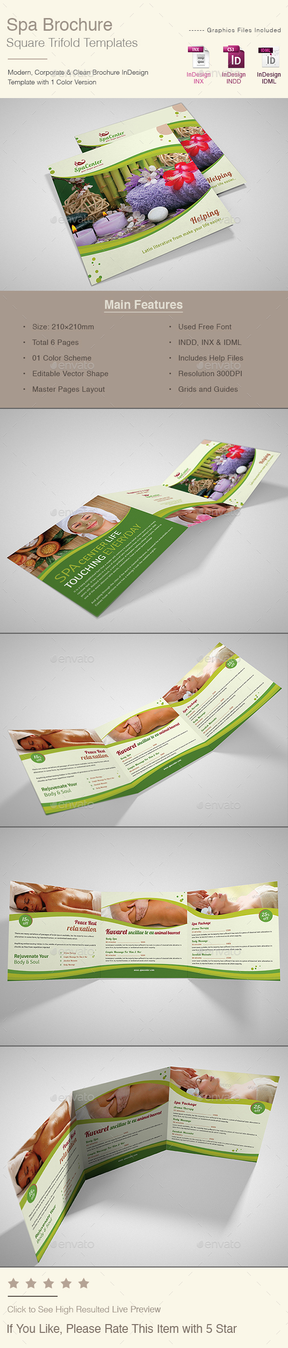 Spa Brochure Square Trifold - Corporate Brochures
