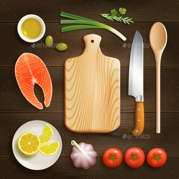 Flat Lay Cooking Dark Background Image  - Food Objects