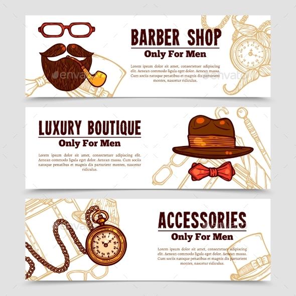 Gentleman Vintage Doodle 3 Banners Set  - Miscellaneous Conceptual