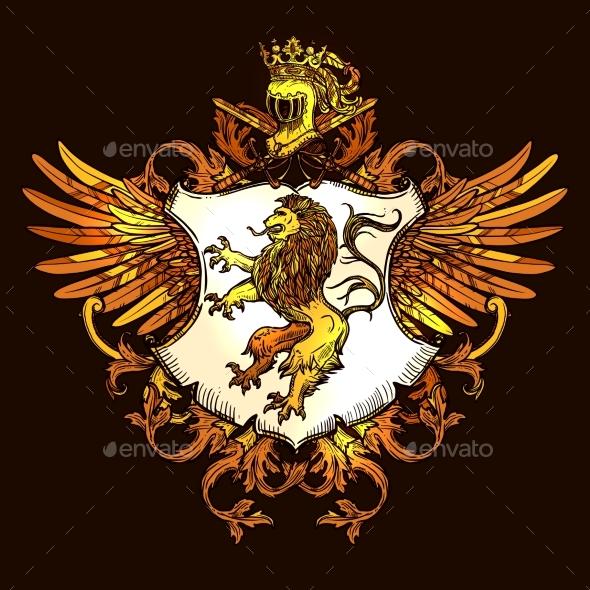 Classic Heraldic Royal Emblem Colorful Icon  - Decorative Symbols Decorative