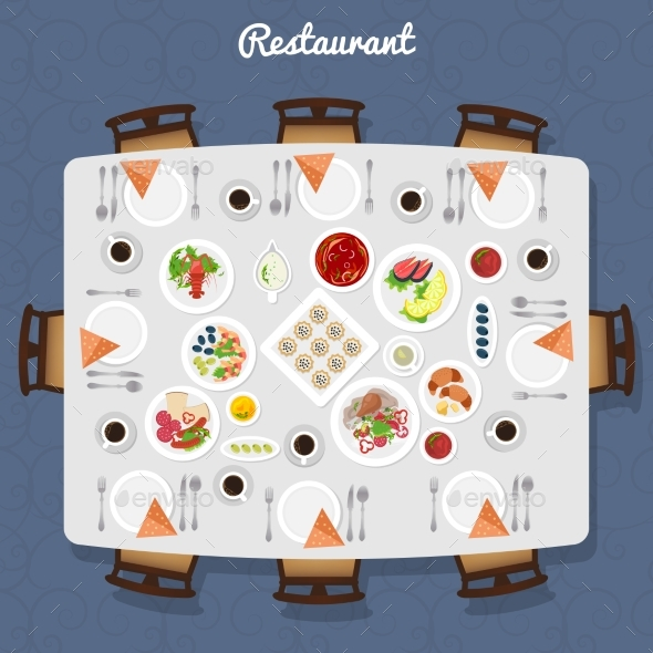 Restaurant Table Top View - Food Objects