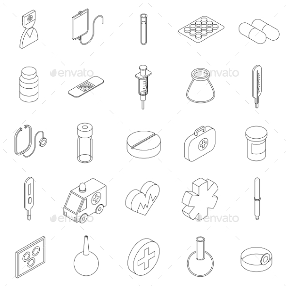 Medicine Equipment Icons Set, Isometric 3d Style - Miscellaneous Icons