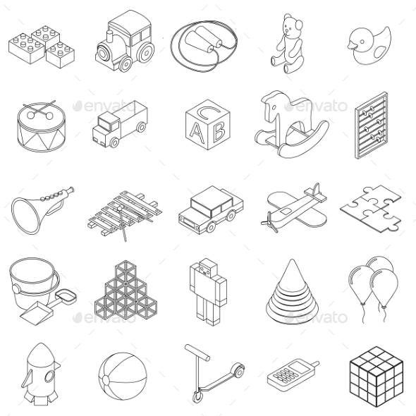 Children Toys Icons Set, Isometric 3d Style - Miscellaneous Icons