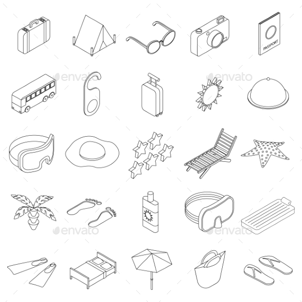 Travel Icons Set, Isometric 3d Style - Miscellaneous Icons