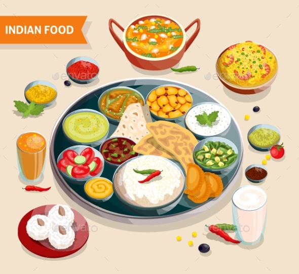 Indian Food Composition - Food Objects
