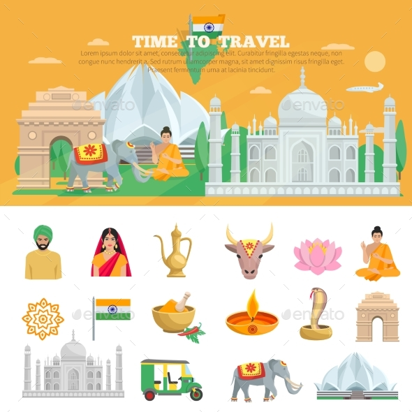 India Travel Set - Travel Conceptual