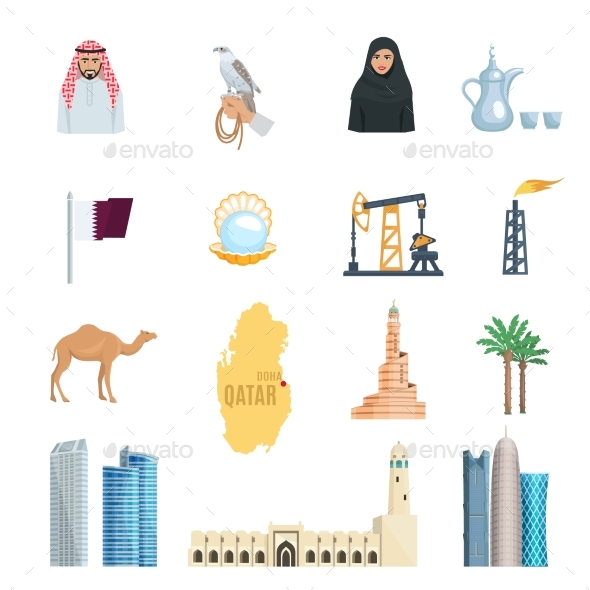 Qatar Flat Icons Set - Travel Conceptual