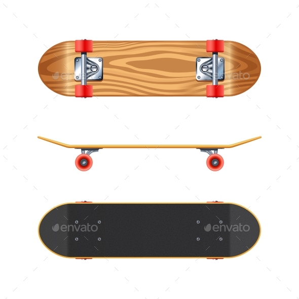 Skateboard Deck Side Bottom Realistic Illustration - Man-made Objects Objects