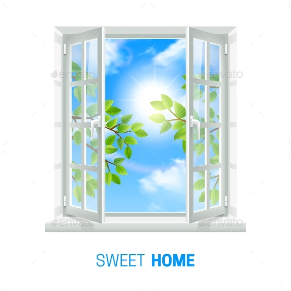 Open Window Sunny Day Realistic Icon  - Miscellaneous Vectors