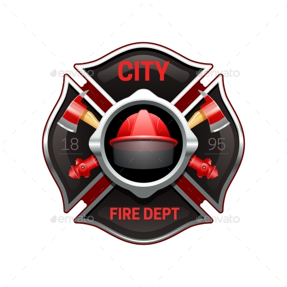 Fire Department Emblem Realistic Image - Decorative Symbols Decorative