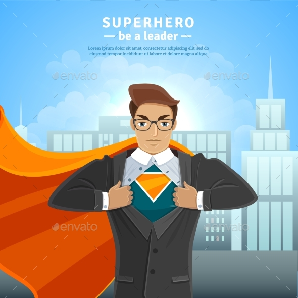 Super Hero Businessman Concept - People Characters