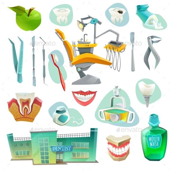 Dental Office Decorative Icons Set   - Health/Medicine Conceptual