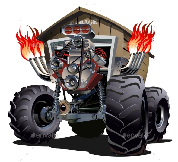 Cartoon Monster Truck - Man-made Objects Objects
