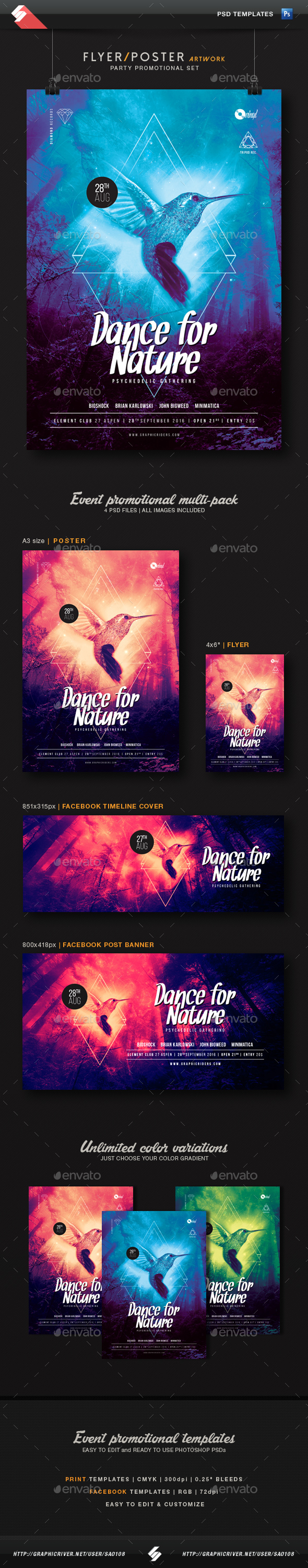 Dance For Nature - Party Promotional Templates Set - Clubs & Parties Events