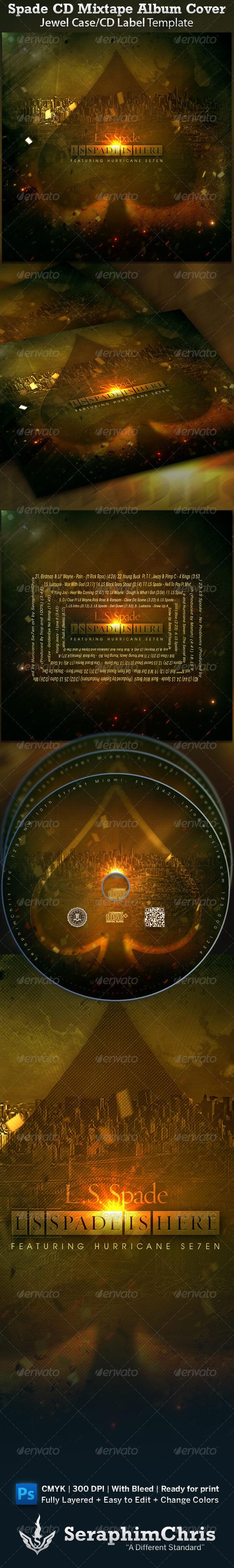 Spade CD Cover Mixtape Template - CD & DVD Artwork Print Templates