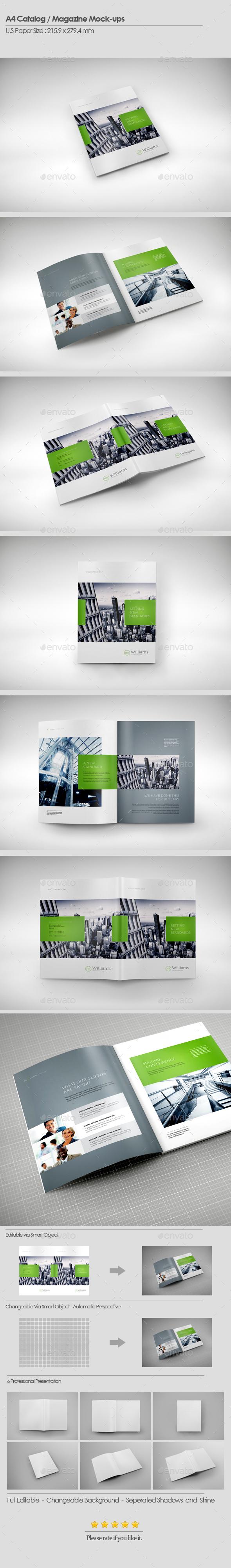 A4 Catalog / Magazines Mock-Ups - Brochures Print