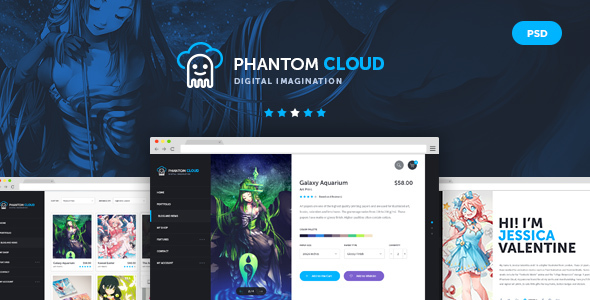 Phantom Cloud - Digital Artist Merchandising Shop PSD Template - Creative PSD Templates