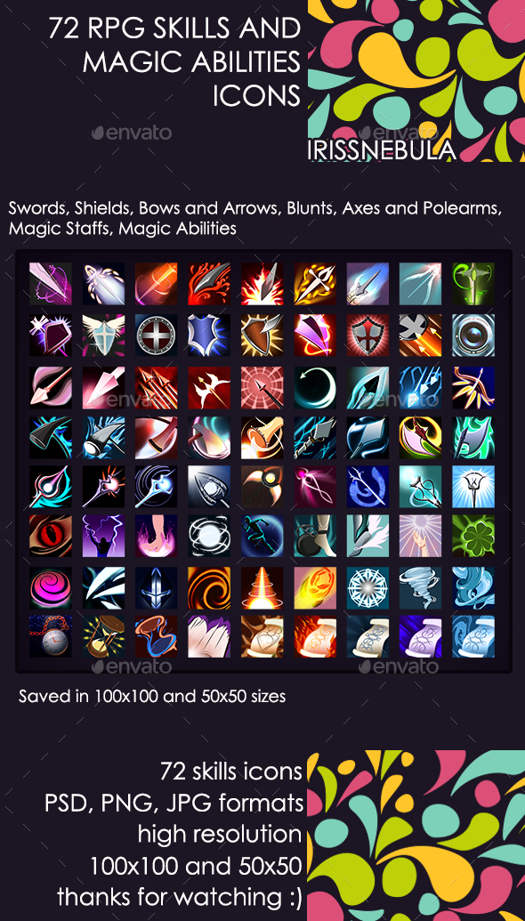 72 RPG Skills and Magic Abilities Icons - Miscellaneous Game Assets