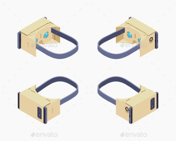 Isometric Cardboard Virtual Reality Headset - Media Technology