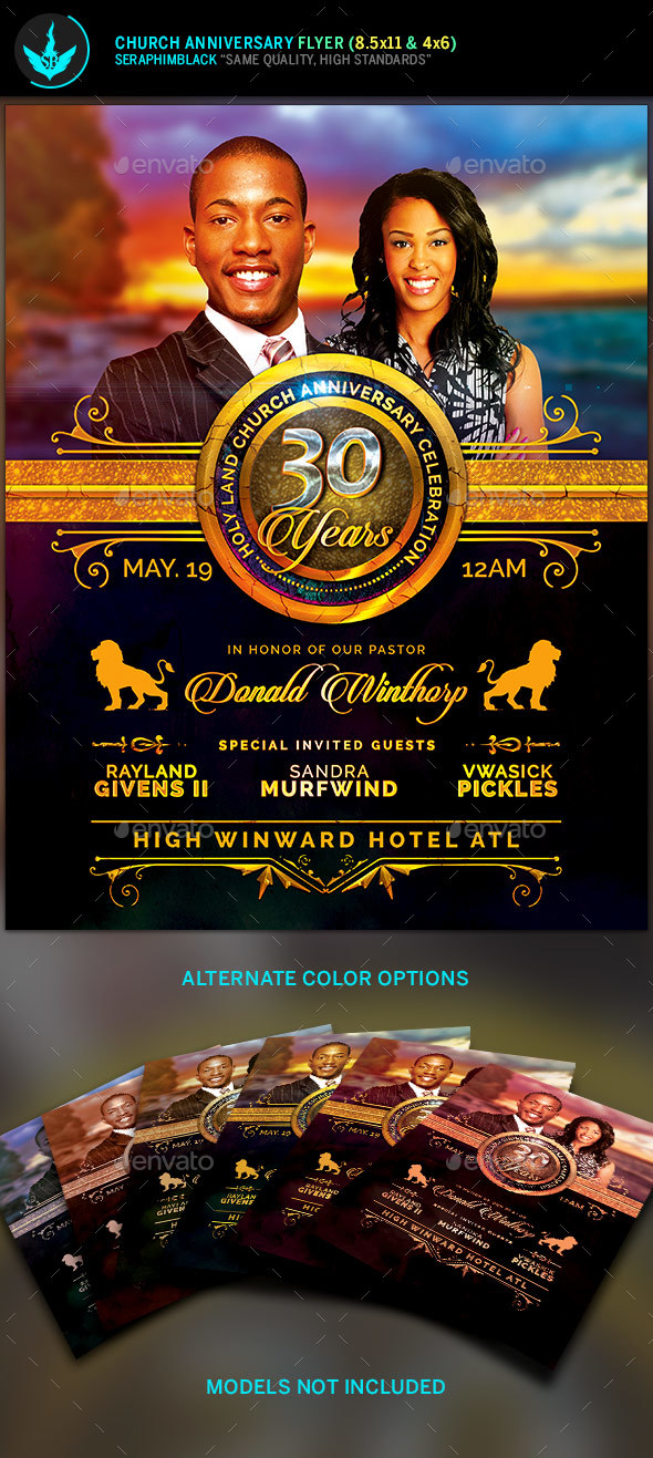 Royal Church Anniversary Flyer Template By Seraphimblack