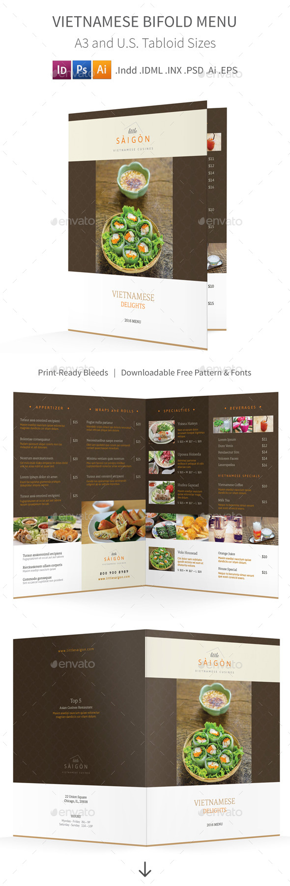 Vietnamese Restaurant Bifold / Halffold Menu 2 - Food Menus Print Templates