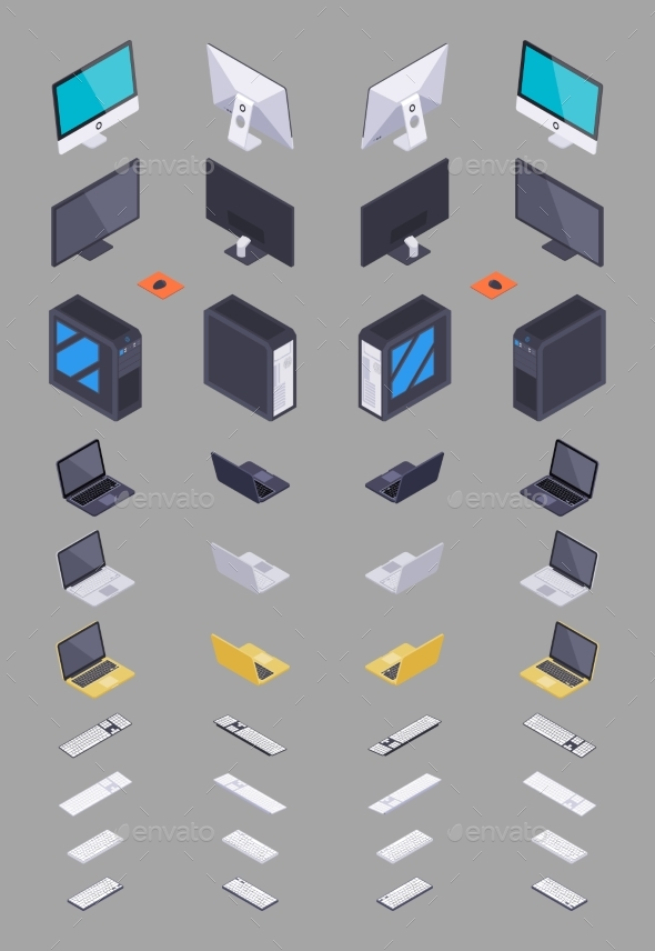 Collection of Isometric Electronic Hardware - Computers Technology