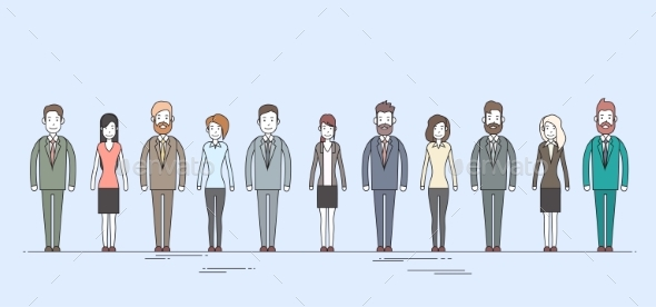 Business People Cartoon Character Set Full Length - People Characters