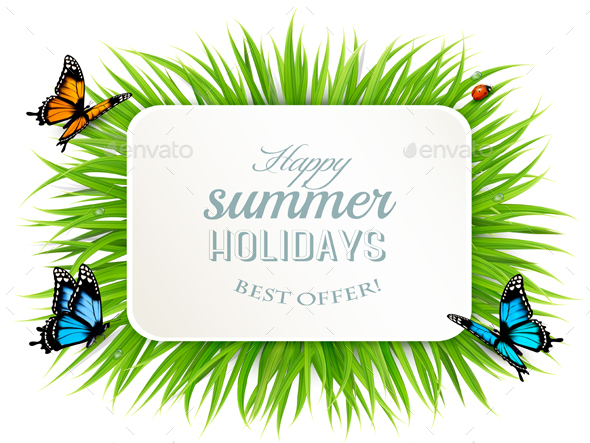 Happy Summer Holidays Banner with Grass - Seasons Nature