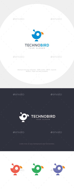 Abstract Techno Bird Logo - Animals Logo Templates