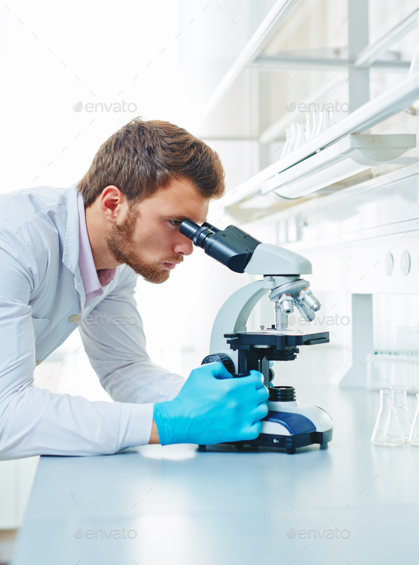 Using microscope - Stock Photo - Images