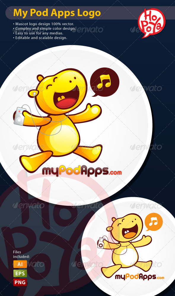 Hippo Music Mascot - Animals Characters