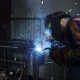 Welder Works In The Dark Of The Workshop - VideoHive Item for Sale