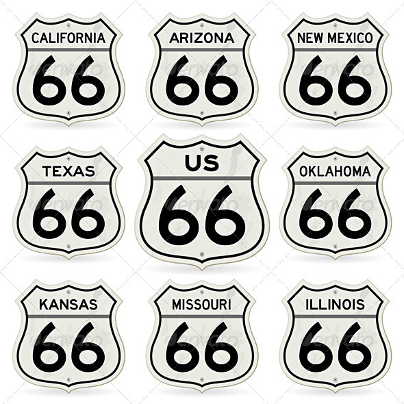 Complete Route 66 Signs Collection - Man-made Objects Objects
