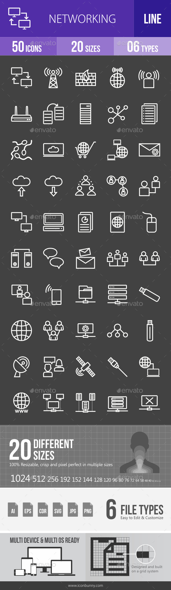 Networking Line Inverted Icons - Icons