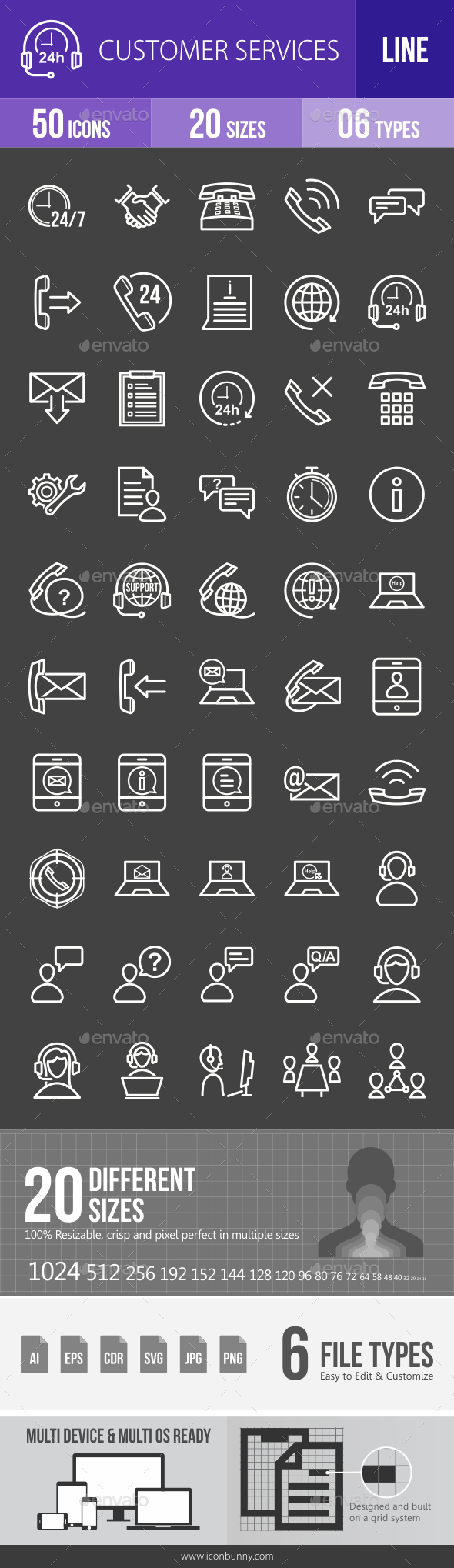 Customer Services Line Inverted Icons - Icons