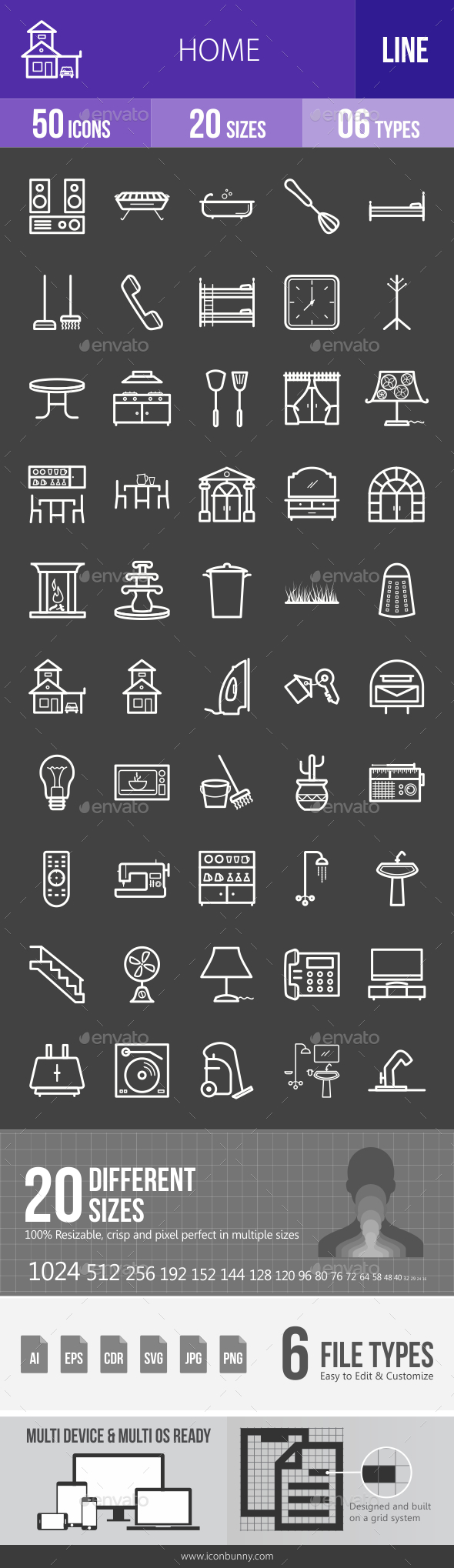 Home Line Inverted Icons - Icons