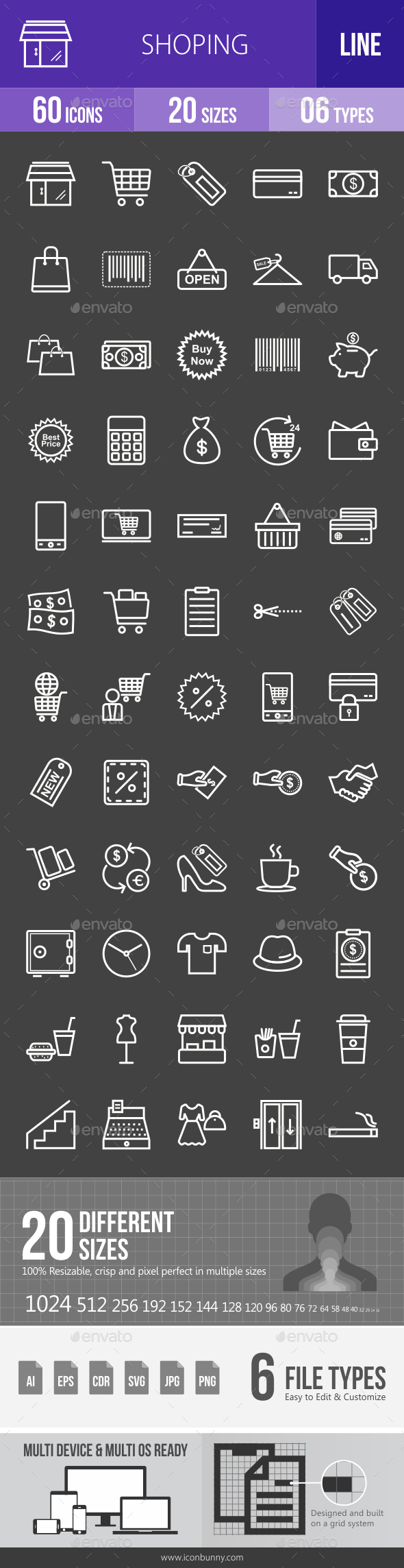 Shopping Line Inverted Icons - Icons